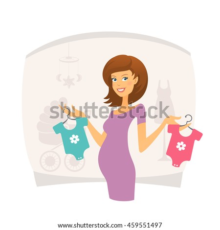 happy pregnant woman with baby
