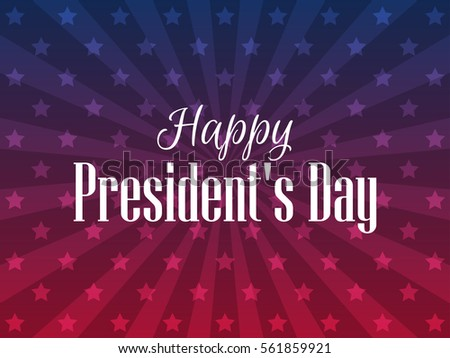 Happy Presidents Day. Festive banner with american flag and text. Vector illustration #561859921