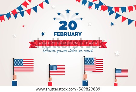 Happy Presidents` Day  flyer, banner or poster. Holiday background with waving flags, ribbon and bunting flags. Vector flat illustration