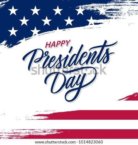 Happy Presidents Day greeting card with brush stroke background in United States national flag colors and hand lettering text design. Vector illustration. - Shutterstock ID 1014823060