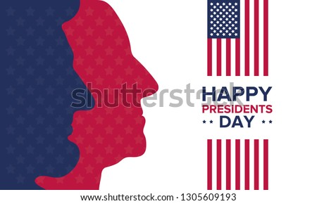 Happy Presidents day in United States. Washington's Birthday. Federal holiday in America. Celebrated in February. Poster, banner and background