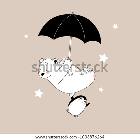 Happy Pretty White Bear And Little Penguin Are Flying With Umbrella Isolated Childish Beautiful Illustration