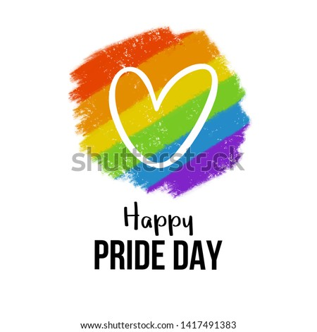 Happy Pride day with big heart on LGBT community color background. Gay pride. Pride Month. Love, freedom, support, peace symbol