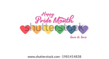 Happy pride month horizontal banner with heart and pride color flag isolated on grey background. Pride month or pride day poster, flyer, invitation party card deign template. Foto stock ©