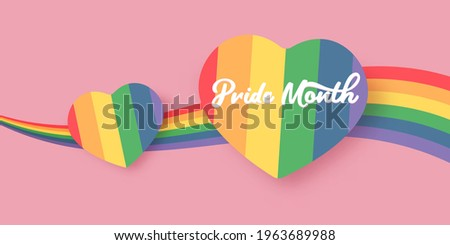 Happy pride month horizontal banner with heart and pride color flag isolated on pink background. Pride month or pride day poster, flyer, invitation party card deign template. ストックフォト ©