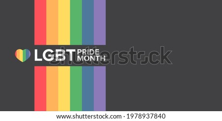 Happy pride month horizontal banner with pride color striped ribbon flag isolated on grey background. LGBT Pride month or pride day poster, flyer, invitation party card modern style design template.