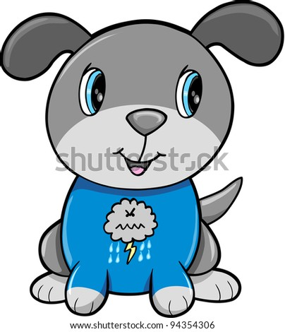 Happy Puppy Dog Animal Vector Illustration Art