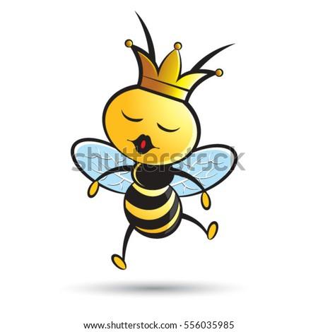 happy queen bee jumping in