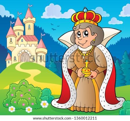 happy queen near castle theme 5