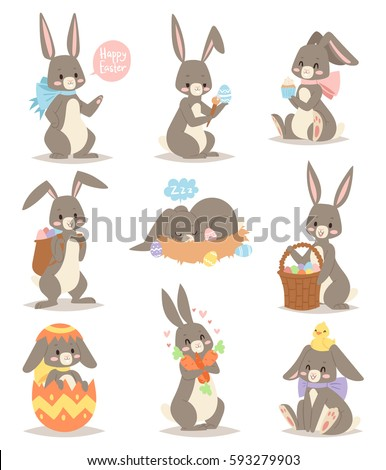 Happy rabbit cartoon character cheerful mammal holiday art hare with basket and cute easter bunny with eggs funny gray animal vector illustration. Cute rabbit characters different pose