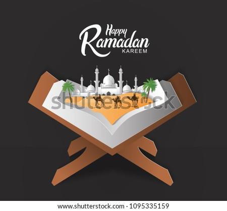 Bannieres Islamiques Ramadan Kareem Avec Des Chameaux Et Une Mosquee