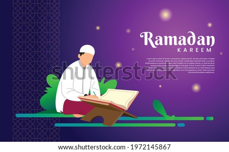 Happy Ramadan Kareem with the character of a person reading Quran. Beautiful for templates, websites, posters, cards, banners, social, presentations and print media. islamic flat design Imagine de stoc ©