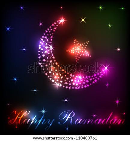 Happy Ramadan Moon Rainbow Design (EPS10 Vector)