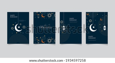Happy Ramadan set of greeting cards, posters, entertainment covers. Ramadan design with beautiful moon lanterns, modern style, dark background.vector eps 10
