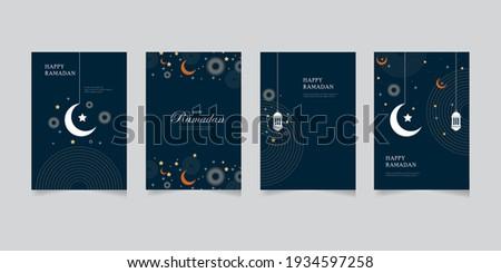 Happy Ramadan set of greeting cards, posters, entertainment covers. Ramadan design with beautiful moon lanterns, modern style, dark background.vector eps 10 Stockfoto ©
