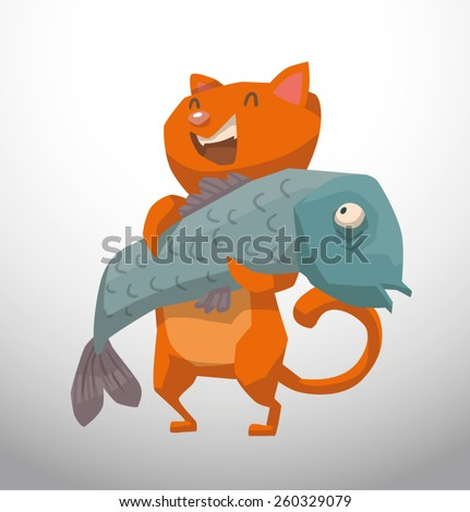 happy red cat with big fish