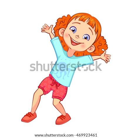 happy redhead girl with a big