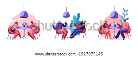 Happy Relaxed People Sitting at Tables in Cafe Set. Male and Female Characters Drinking Beverages Talking at Coffee Shop. Men and Women Friends Relaxing and Dating. Cartoon Flat Vector Illustration