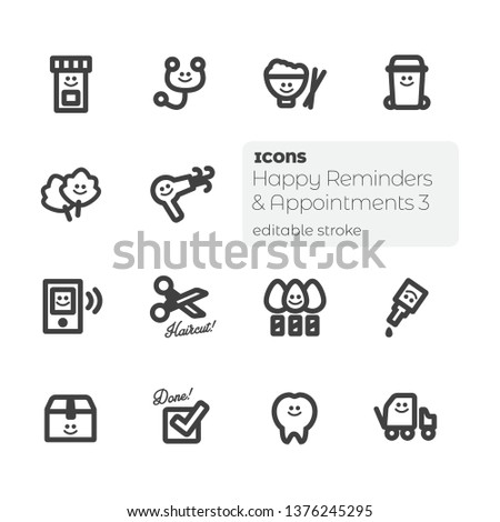 Happy Reminders & Appointments (3), Editable Stroke Vector Icon Set