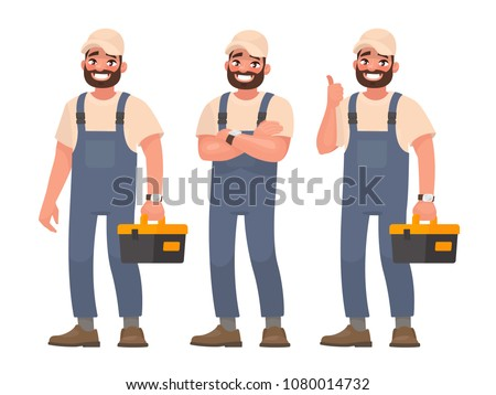 Happy repairman or mechanic with a toolbox. Set of different poses. Vector illustration in cartoon style
