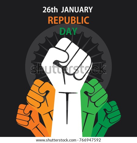 happy republic day of india banner design, show power or unity of country
