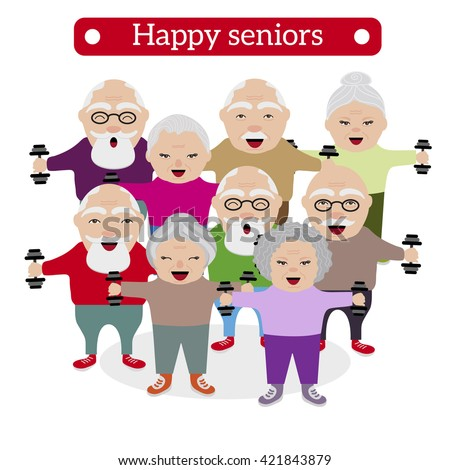 happy retired people healthy