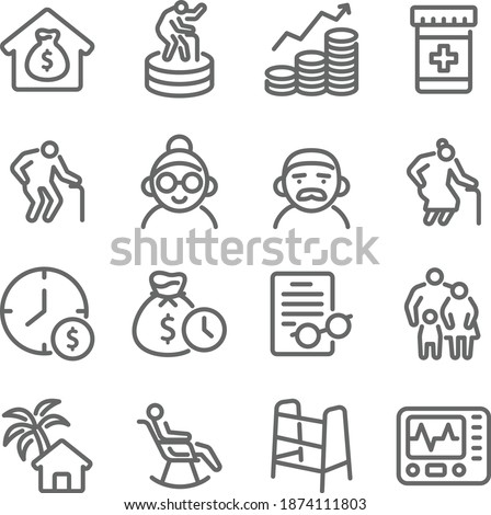 Happy retirement icon illustration vector set. Contains such icons as Retire, Old man, Investing, Retire plan, Grandparent, nursing home, old man, Wealth, and more. Expanded Stroke