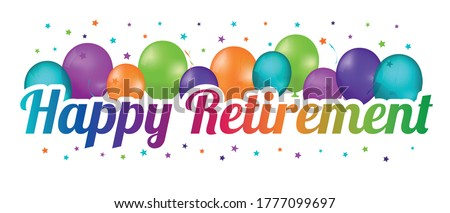 Happy Retirement Party Balloon Banner - Colorful Vector Illustration - Isolated On White Background Сток-фото ©