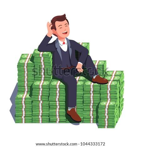 happy rich man sitting...