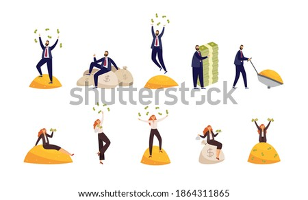 Happy rich people throwing banknote, sitting on bags of money and piles of gold. Millionaires, financially successful business men and women or lottery winners. Vector illustration Stock photo ©