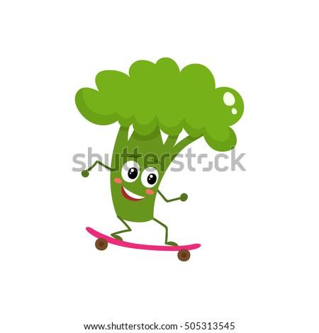 happy ripe broccoli riding a