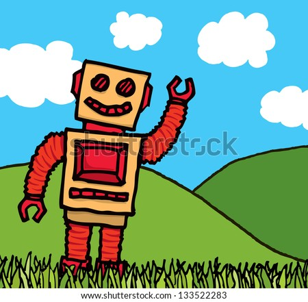 Happy robot enjoying nature