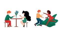 Happy Romantic Couple Drinking Wine in Restaurant and Running Towards Each Other Vector Set