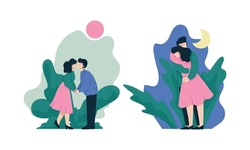 Happy Romantic Couple Embracing and Kissing Each Other Vector Set