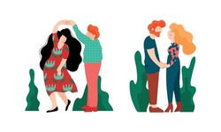 Happy Romantic Couple Holding Hands and Kissing Each Other Vector Set