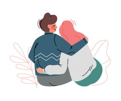 Happy Romantic Couple Sitting and Embracing Each Other Back View Vector Illustration