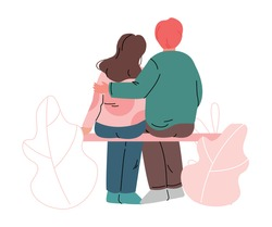 Happy Romantic Couple Sitting on Bench Embracing Each Other Back View Vector Illustration