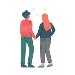 Happy Romantic Couple Walking Holding Hands Back View Vector Illustration