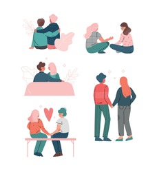 Happy Romantic Couples Sitting and Embracing Each Other Vector Set