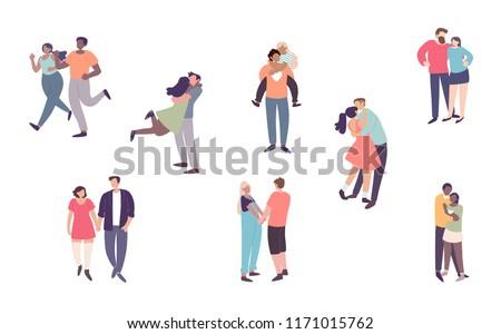 Happy romantic couples walking together or pairs of men and women on date. Flat cartoon characters isolated on white background. Vector illustration.
