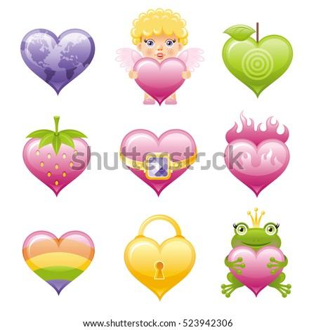 happy romantic icon set with