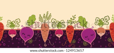Happy root vegetables horizontal seamless pattern background - stock vector