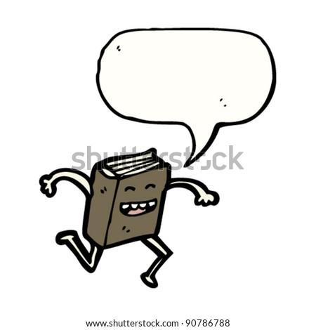 happy running book cartoon character