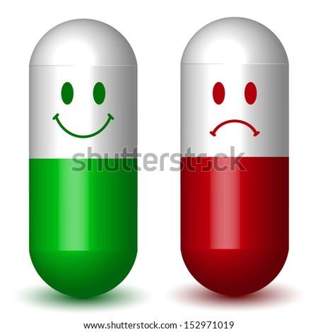 happy   sad sign capsule pills