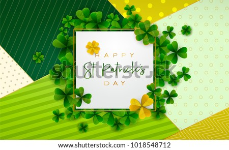 Happy Saint Patrick's Day background, greeting card with green and gold four and tree leaf clovers, modern geometric template, trendy paper art design. Vector illustration.
