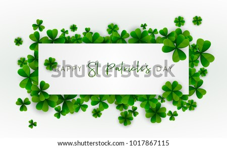 Happy Saint Patrick's Day background, greeting card with green four and tree leaf clovers, modern geometric template, trendy paper art design. Vector illustration.