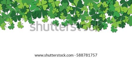 Happy Saint Patrick's day horizontal seamless pattern background with shamrock isolated on white. Vector illustration.