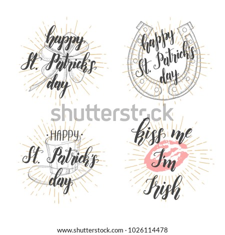 Happy Saint Patrick's Day. Lettering Set. Celebration design for March, 17th. Hand drawn lettering
