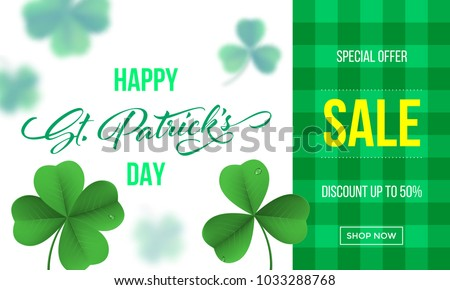 Happy Saint Patrick's day sale banner with shamrock clover on green gingham background. Vector St Patrick sale lettering for Feast of Saint Patrick festival day 17 March. Irich holiday greeting card