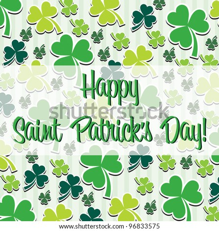 Happy Saint Patrick's Day scatter shamrock card in vector format.